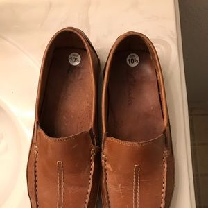 Mens brown leather Clarks loafers